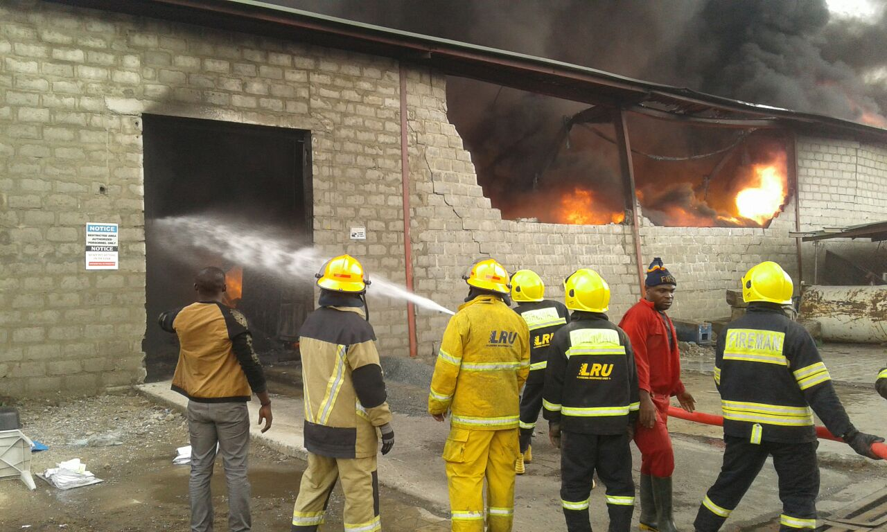 fire razes factory in lagos  destroys property worth