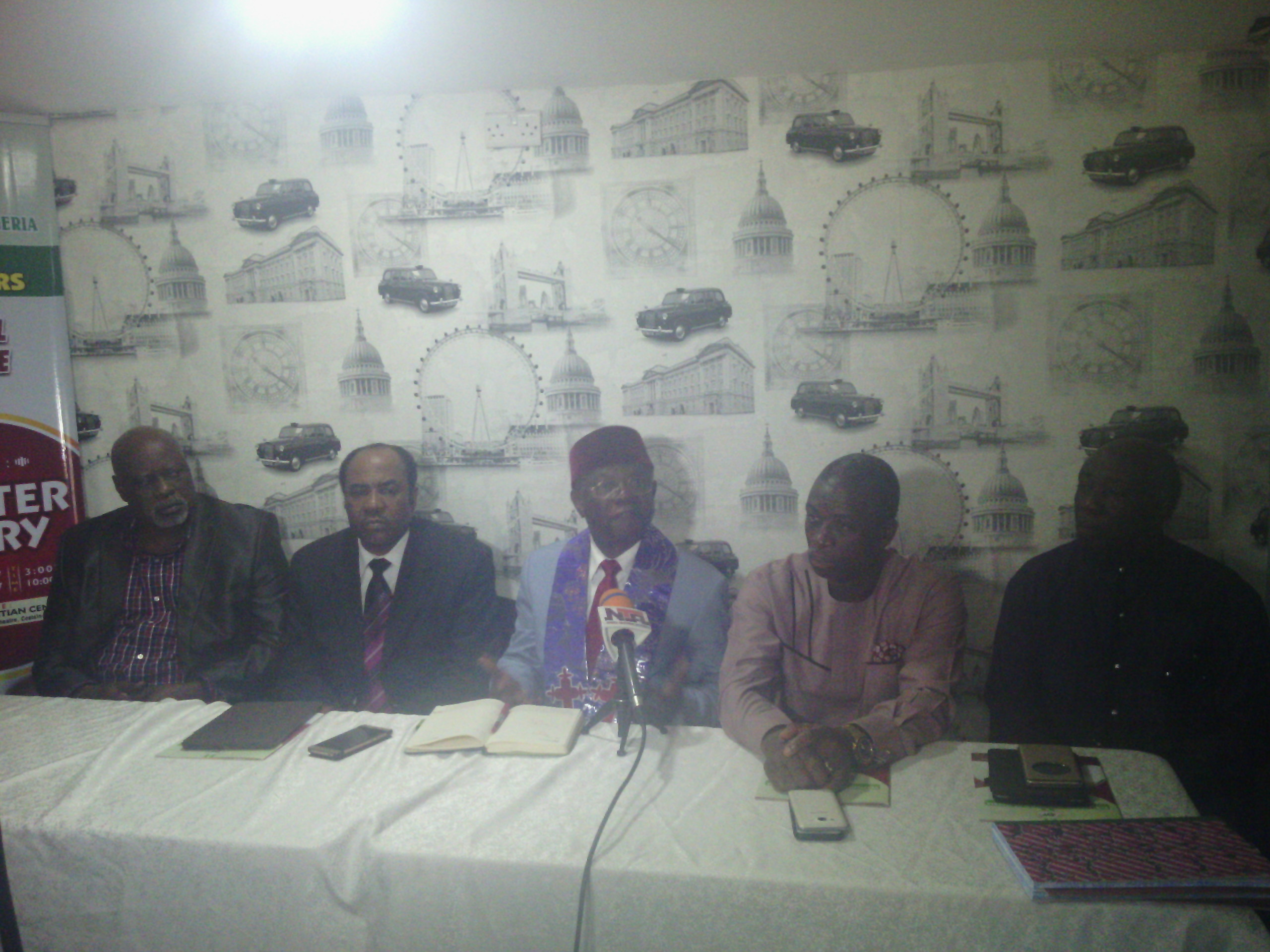 Omobude (m) addressing the press at the Covenant Christian Centre, Iganmu, Lagos on Tuesday