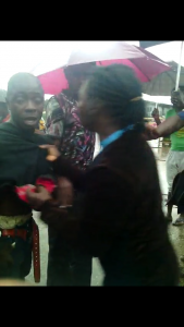 During the fracas