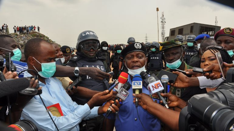 L-R: Chairman Lagos State Task Force, Mr. Yinka Egbeyemi, Commissioner of Police Lagos State, Imohimi Oluwole Edgal, addressing journalists following exhibits recovered from suspects arrested at Mushin in Lagos yesterday.