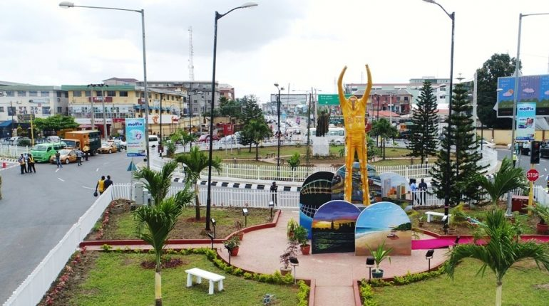 The Fela Anikulapo-Kuti Statue titled - the Liberation, at Allen Roundabout, Ikeja, unveiled by the Lagos State Government on Sunday, October 15, 2017.