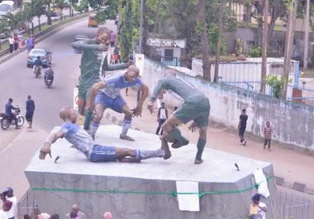 The Football Forever Statue at the Teslim Balogun Stadium, Surulere, Lagos
