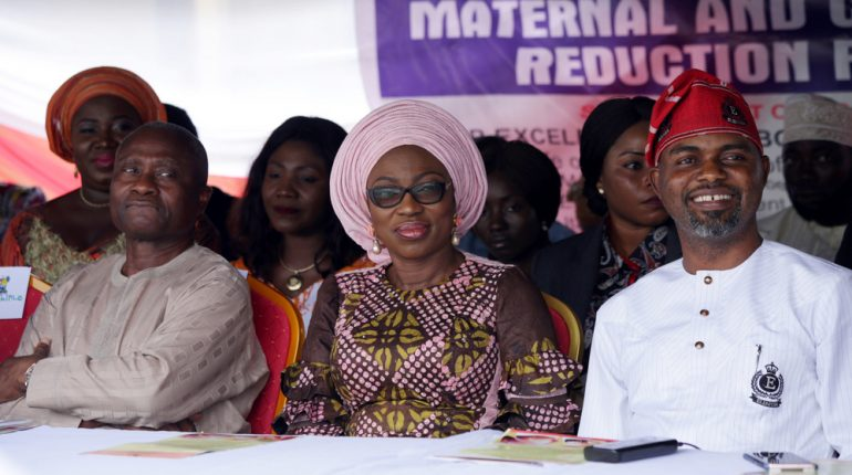 Wife of the Governor of Lagos State, Mrs. Bolanle Ambode (m); HC for Health, Dr. Jide Idris (L); and Chairman, LAHA House Committee on Health, Hon. Olusegun Olulade (r), during the Town Hall Meeting on Maternal and Child Mortality Reduction program, in Epe Local Government Area, on Monday, 20th November 2017
