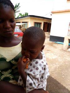 A little boy treated at the outreach