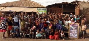 Betty with children in Otukpo, Benue State