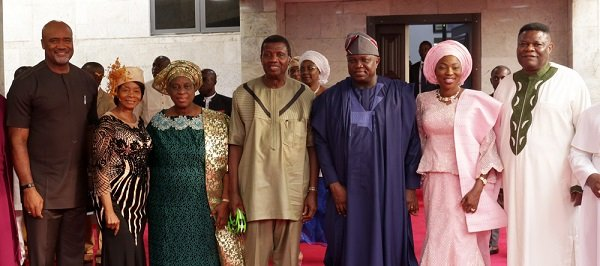 Governor of Lagos State, Mr. Akinwunmi Ambode (3rd right), his wife, Bolanle (2nd right); General Overseer, Redemeed Christian Church