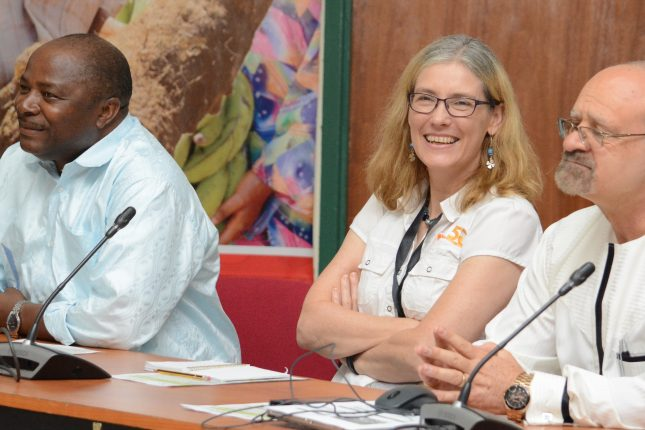 L-R: The Director General of IITA, Dr Nteranya Sanginga; Deputy Director General (Corporate Services), Ms. Hilde Koper; Deputy Director General (Partnership for Delivery), Dr Kenton Dashiell during a conference research-for-development in IITA-Ibadan.