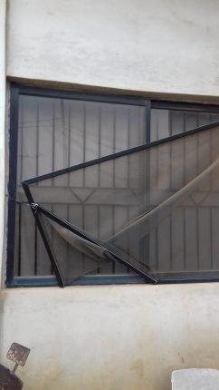 The damaged window