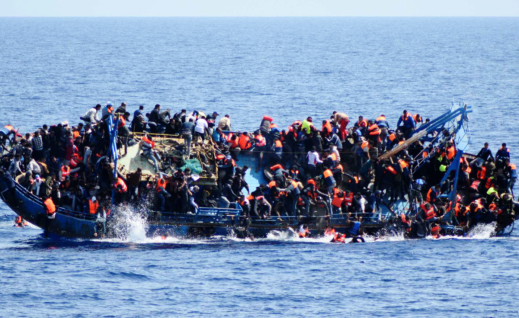 Boat adrift with african migrants