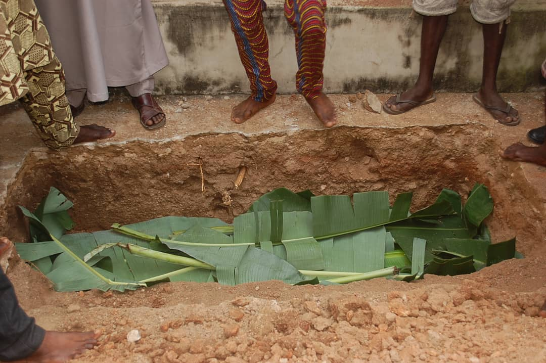 During the burial